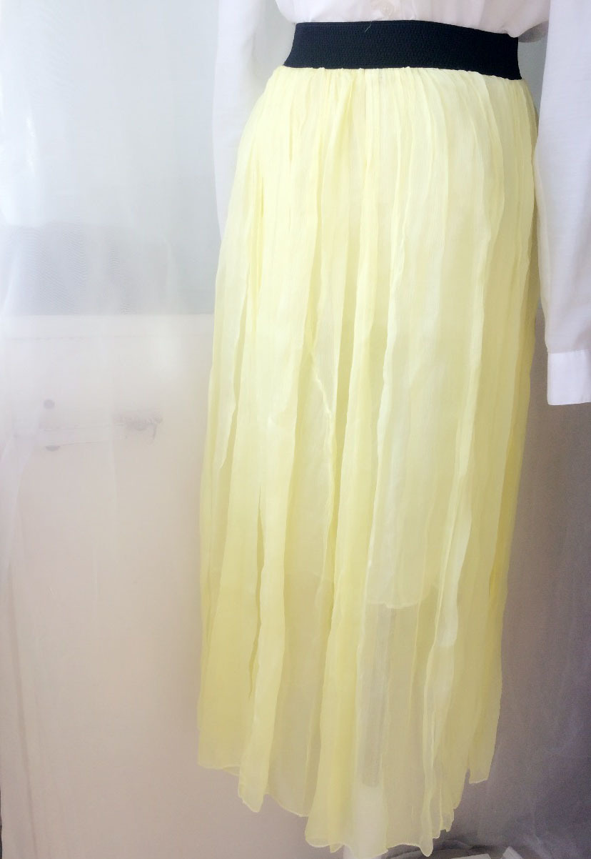 Pure Silk Yellow Maxi Skirt Semi See-through Summer Beach Skirt