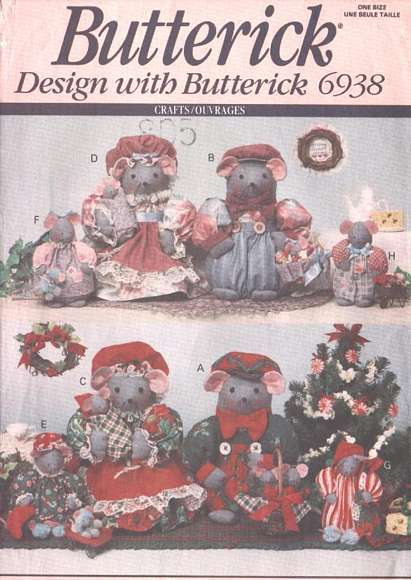Butterick 6938 / 266 Mice Mouse Family Luv 'n Stuff Pattern