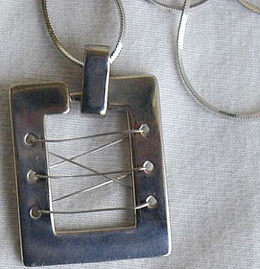 Silver rhodium window necklace B