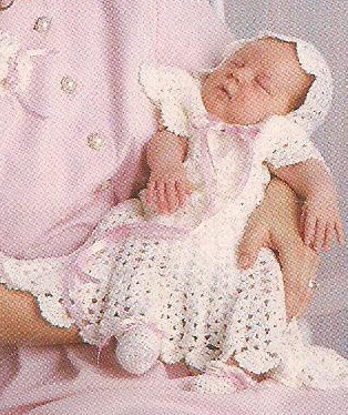 Crochet Baby Dress And Bonnet Pattern : Baby Layette crochet patterns gown doll dress bonnet ...