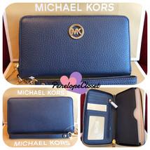 NWT MICHAEL KORS LEATHER FULTON LG FLAT MF PHONE CASE WRISTLET/WALLET IN... - $57.88