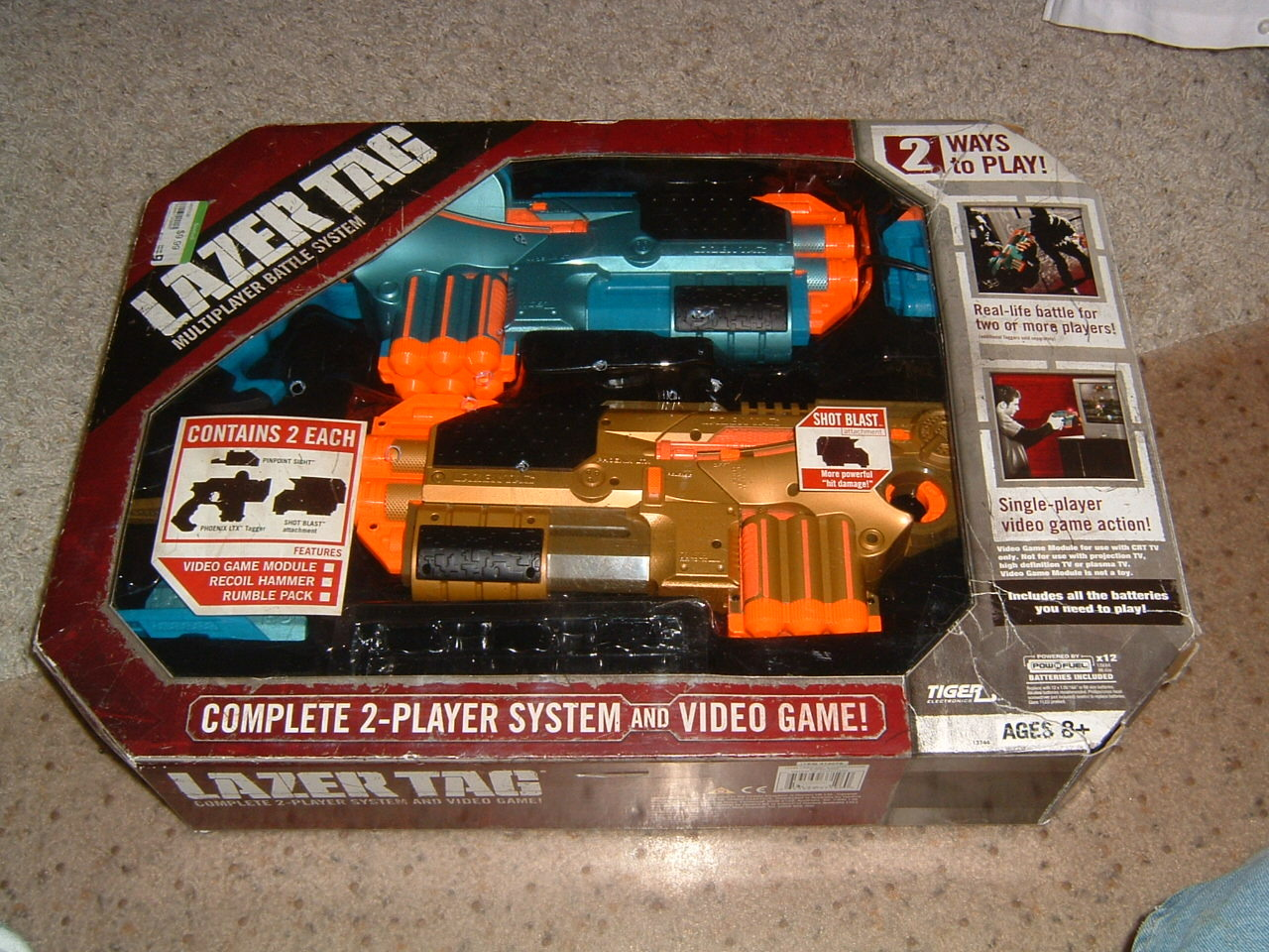 1 Tiger Electronics Hasbro Set Of 2 Laser Lazer Tag Guns
