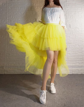 High Low Tulle Skirt Long Layered Tutu Skirt Outfit Plus Size Yellow Hi Low image 6