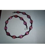 Purple beaded necklace amethyst swarovski crystals handmade - $14.00