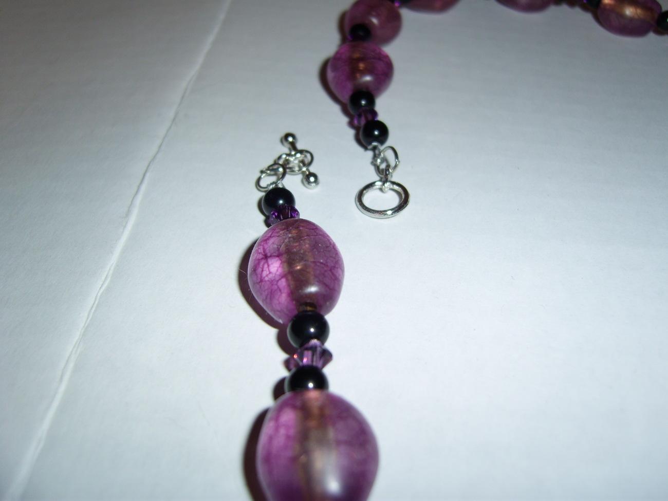 Purple beaded necklace amethyst swarovski crystals handmade