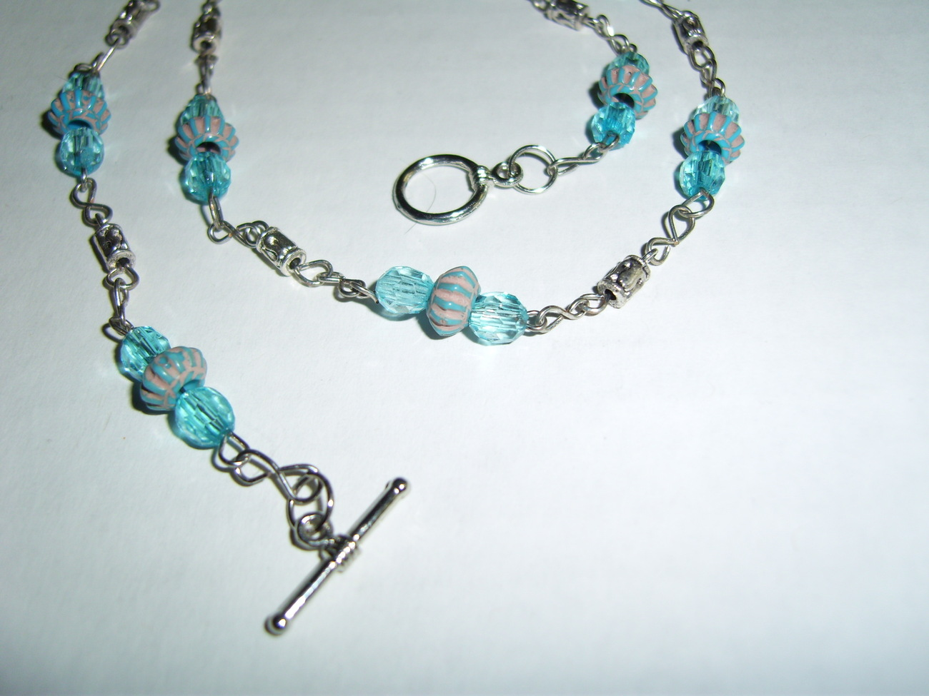 Handmade blue beaded necklace