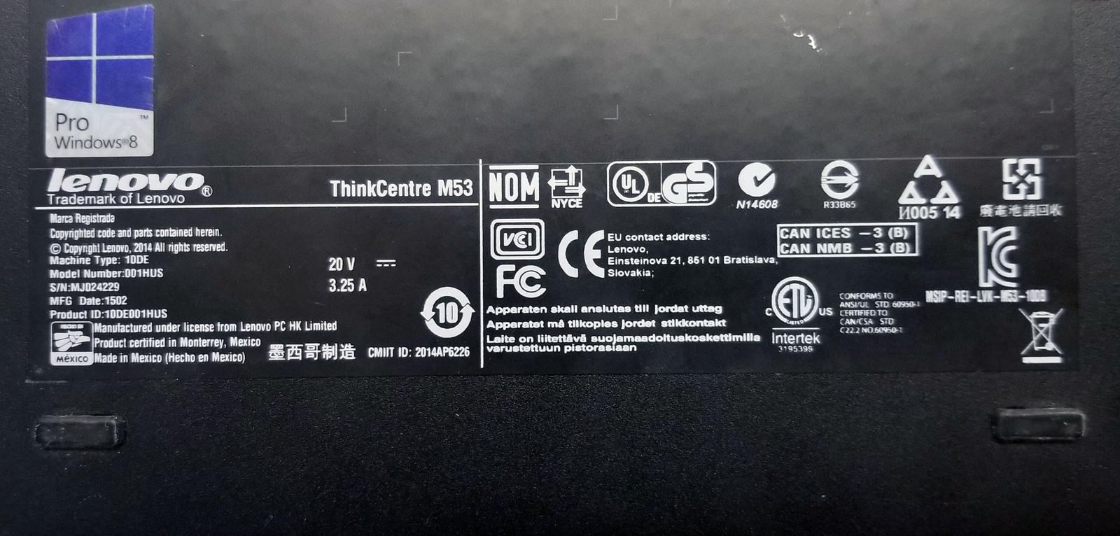 Lenovo ThinkCentre M53 Powerful Tiny Desktop (001HUS) Bin:SF