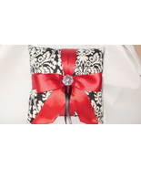 Damask Ringbearer Pillow Muse Red Satin Black Ivory Ring Pil - $24.95