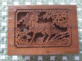 Lasercraft WALNUT Miniature MUSIC BOX DANCER Galloping Horse Cut-Out in ... - $10.00