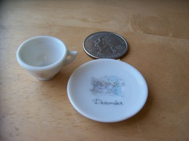 """1986 Precious Moments Miniature """"December"""" Teacup and Plate  - $0.00"""