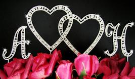 Vintage Swarovski Crystal Monogram Double Heart Wedding Cake Topper Set ... - $137.00+