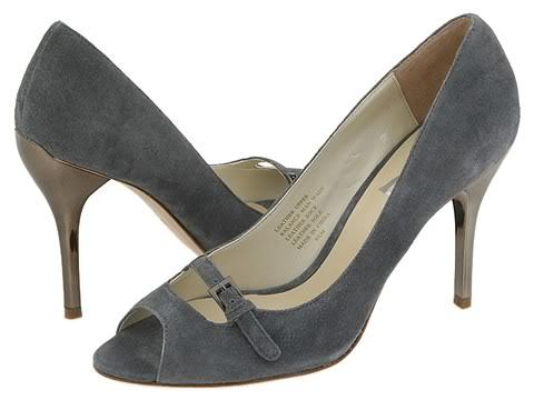 Type Z Roxie Gray Suede Womens Size 9.5 Stiletto Shoes Open Toe Heels Leather
