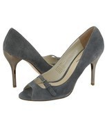 Type Z Roxie Gray Suede Womens Size 9.5 Stiletto Shoes Open Toe Heels Le... - $34.00