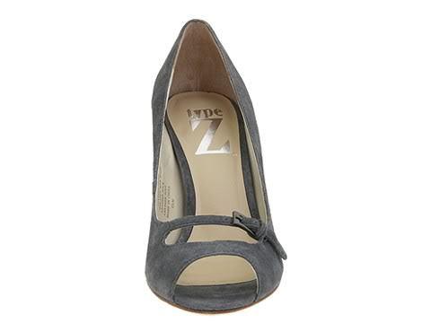 SZ 9.5 Type Z Roxie Gray Suede Womens Stiletto Shoes Open Toe Heels Leather