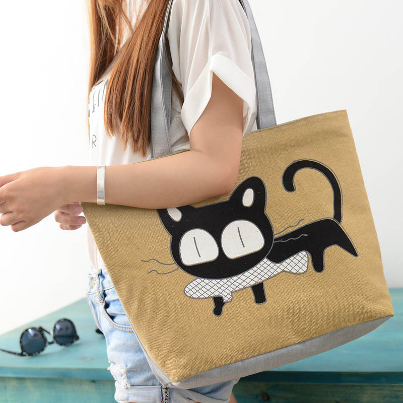 Beach bags Famous Cat Large Shoulder Tote image 3