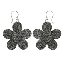Dasiy Flower Floral Round Black Spinel Gemstone 925 Sterling Silver Earring - $100.38