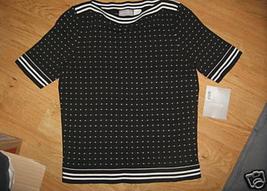 Ladies Liz Claiborne Petite Graphic Matters S Cotton Shell Top Black White New - $15.65