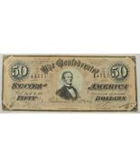 1864 CT-66 $50 Confederate Civil War Porker Bank Note PC-238 - $337.49