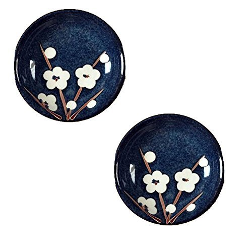 Primary image for Kylin Express 2PCS Round Chinese Creative Small Dishes Snack Plate Sauce Dish Mu