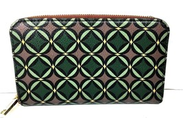 Fossil Green Brown Print Canvas Zip Around Wallet - $29.09