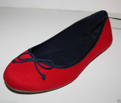 Gap NWT Women's 6 8 9 Faux Suede Red Ballet Flats w/ Navy Blue Trim & Bow - $29.26