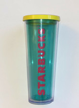 AWESOME 2014 Starbucks Venti Acrylic Tumbler Cold Cup Turquoise Blue/Pin... - $24.48