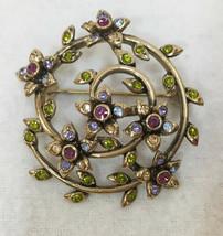 Brooch Pin Monet Flower Vine Swirl Purple Green Rhinestones Gold Tone Me... - $9.89