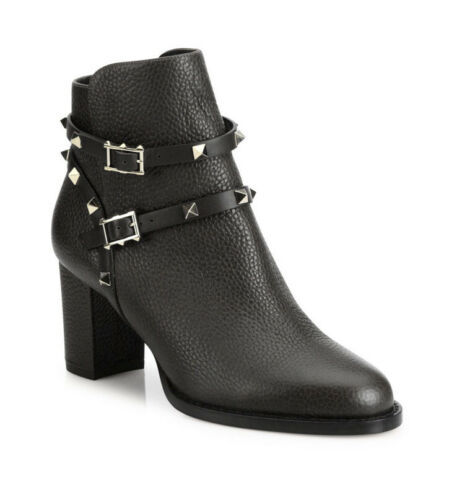 Primary image for Valentino 39 Rockstud Leather 70mm Ankle Bootie Black Retail $1375 Brand New