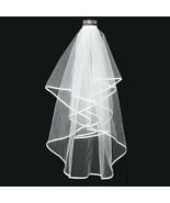Elegant 2T White Net Wedding Bridal Elbow Satin Edge Veil With Comb Party - $7.88