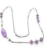 Necklace Silver 925, Amethyst, Oval And Disco, Pearls, Length 80 CM - $191.66