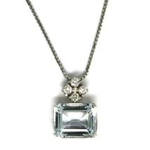 Halskette Weißgold 750 - 18k, Anhänger Aquamarin Schliff Smaragd und Diamanten image 1