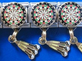 Dartboard and darts  Italian Charm Dangle fits Classic Size bracelet 9mm - $3.86