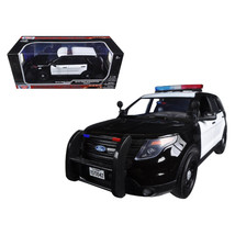 2015 Ford PI Utility Interceptor Black & White Police Car with Light Bar 1/18 Di - $56.95