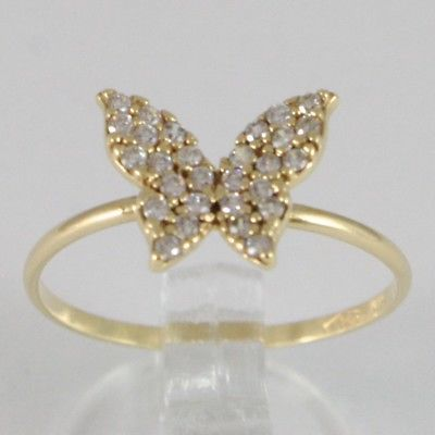 YELLOW GOLD RING 750 18K BUTTERFLY WITH ZIRCON CUBIC CT 0.56, MADE IN ITALY