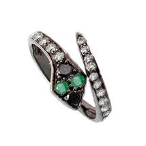 Sterling Silver Natural Diamond Pave Emerald Gemstone Open Snake Ring Je... - $88.20