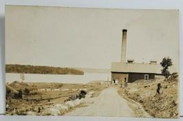 Ely Minnesota RPPC View on Long Lake with Smoke Stack & Barn Photo Postc... - $39.95