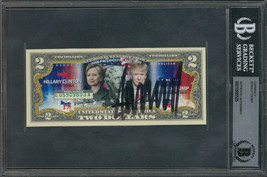 Rare Donald Trump Signed Novelty Two Dollar Bill Actual US Currency BAS ... - $2,351.02