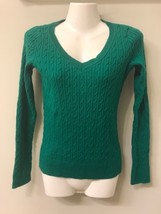 TALBOTS Women's XS Pullover Sweater Green Cable Knit 100% Cotton V Neck - $14.85