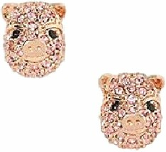Kate Spade New York Imagination Pave Pink Pig Stud Earrings Nwt - $35.00