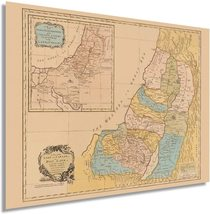 1760 Map of the Land of Canaan or Holy Land - Vintage Map Wall Art - Bible Map P - $34.99+