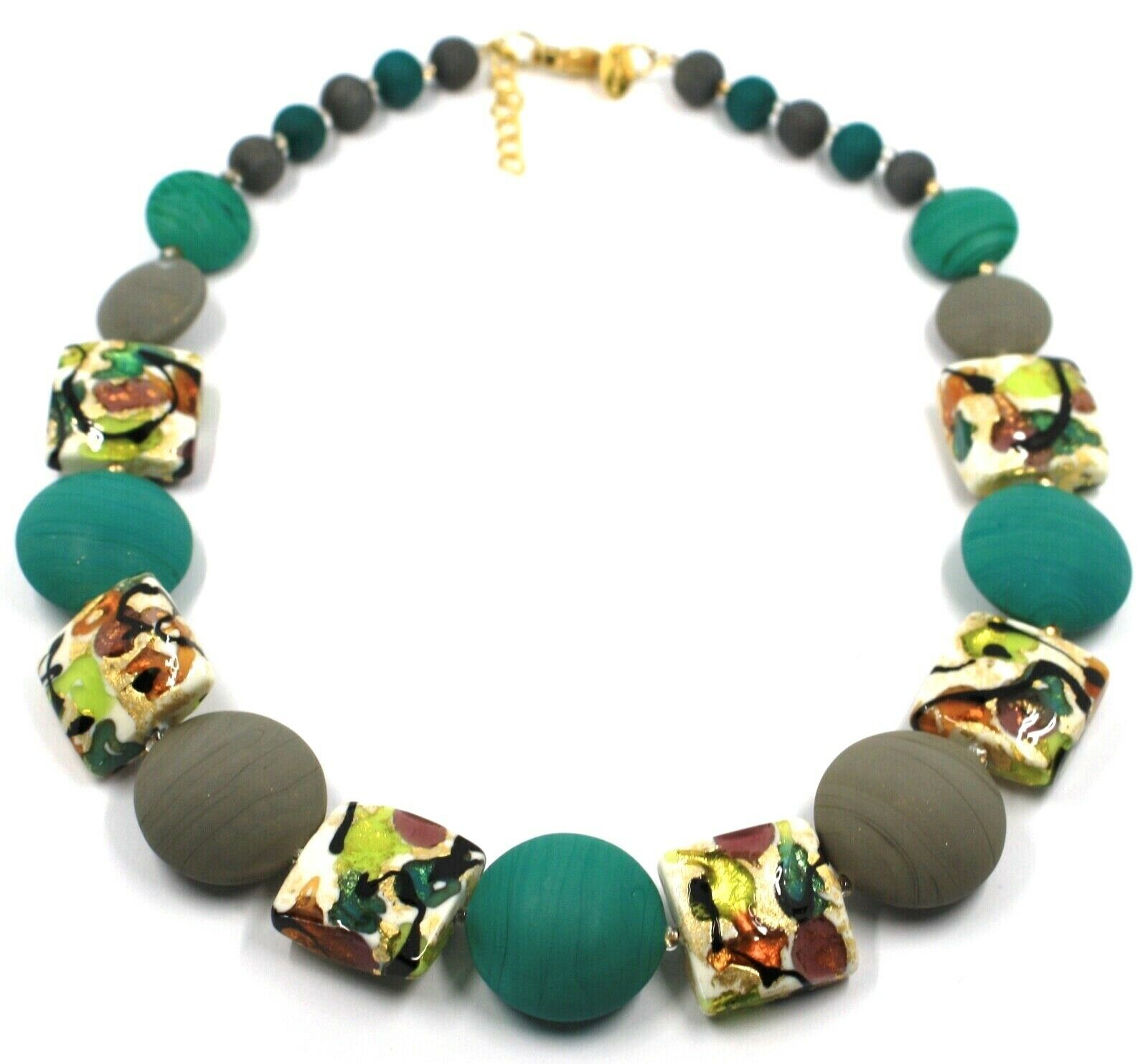 NECKLACE GREEN GREY SQUARE & DISC, MURANO GLASS, GOLD LEAF, MADE IN ITALY