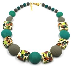 NECKLACE GREEN GREY SQUARE & DISC, MURANO GLASS, GOLD LEAF, MADE IN ITALY image 1