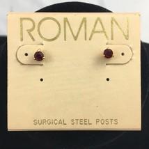Vintage Roman Red Stud Earrings Pierced Dainty Gold Tone Prong Set Rhine... - $10.90