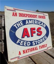22 x 18 AFS American Feed Store Vintage Metal Advertising Sign Farm Country - $199.00
