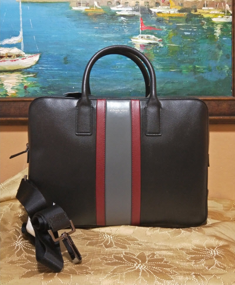 21cb2995b90a 57. 57. Previous. Michael Kors Men s Warren Striped black Large Leather  Briefcase · Michael Kors Men s Warren ...