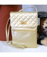 Quilted Handbag Via Piaggi Mini Pouch Gold - $26.00