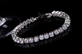 Solid 10k Gold Brilliant Cut White Diamond Tennis Bracelet Wedding Gift ... - $899.99
