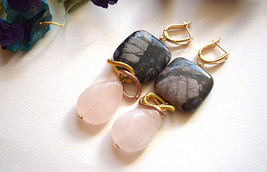 Agate and Pink Quartz drop down earrings gold plated earring cluster - $35.00