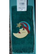 Velour Fingertip Towel with Moon and Star - fringed - $5.00