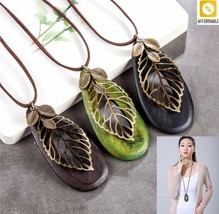 Necklace For Women Vintage Leaf Necklaces Pendants Long Wood Jewelry Collares - $9.88